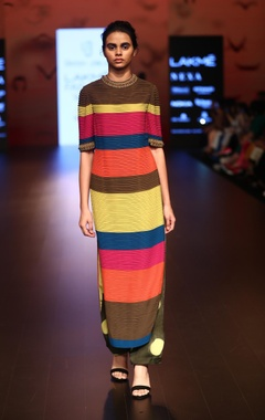 Urvashi Joneja Rainbow stripe maxi dress