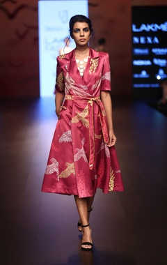 Urvashi Joneja Satin trench dress with hand embroidered belt
