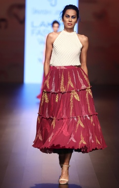 Urvashi Joneja Tiered style flared skirt