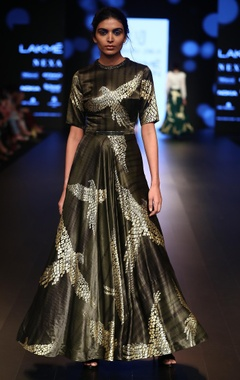 Urvashi Joneja Foil printed satin gown