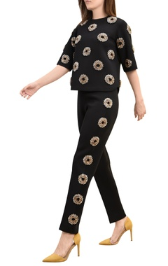 Floral & polka dot embroidered cigarette pants