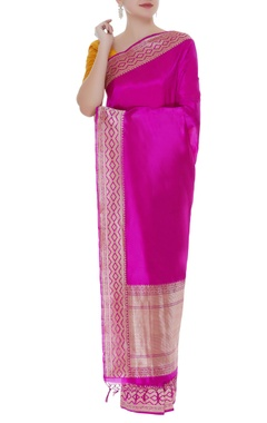 Embroidered handwoven sari with unstitched blouse