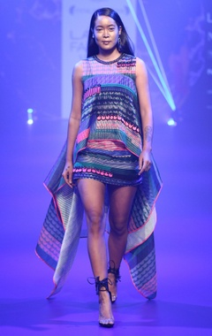 Stripe poly organza cape & skirt