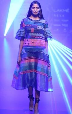 Pankaj & Nidhi Organza & lace ruffle blouse with skirt
