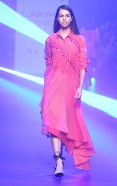 Stripe organza asymmetric dress