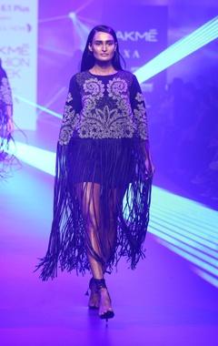 Pankaj & Nidhi Mesh tassel detail cape