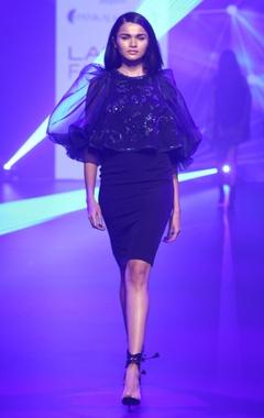 Pankaj & Nidhi Crepe & organza cape layer dress
