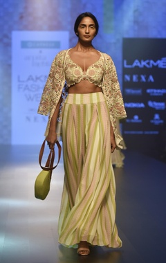 Arpita Mehta Striped pants with embroidered bustier & cape