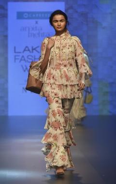 Arpita Mehta Ruffle embroidered top with tiered sharara