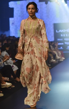 Floral printed cape kurta with palazzos