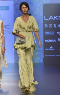 Arpita Mehta Natural crepe blouse & tiered sharara pants