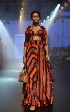 Arpita Mehta Tiered cape with embroidered blouse & pants