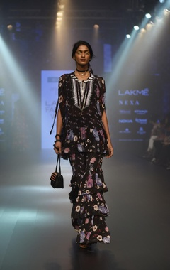 Floral mirror work embroidered tunic with pants