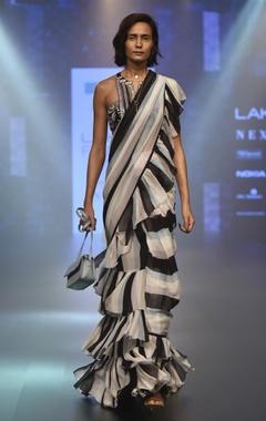 Arpita Mehta Striped ruffle sari & embroidered blouse