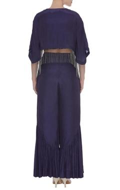 Bead embroidered crop top with kaftan jacket & pants