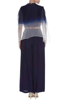 Fringe crop top with pleated pants