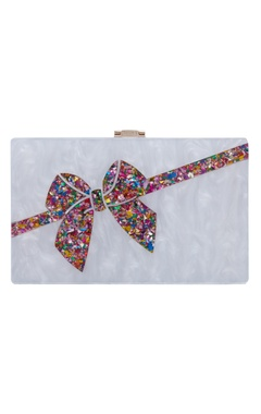 House Of Bio White bow box clutch