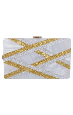 House Of Bio Gold & silver embellished box clutch