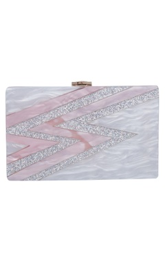 House Of Bio Rose marble textured clutch