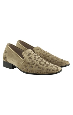 Suede zardozi embroidered loafers