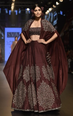 SVA - Sonam and Paras Modi Embellished lehenga with long cape and bustier
