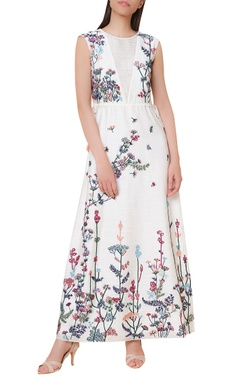 Hand embroidered floral maxi dress