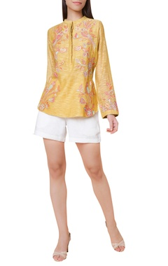 Hand embroidered cotton silk tunic