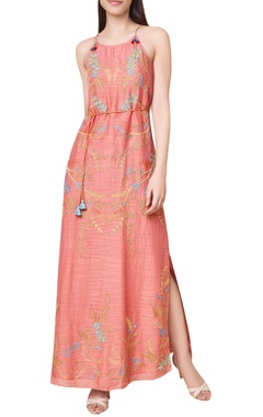 Hand woven maxi dress with side slit