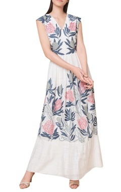 Pleated hand woven maxi dress