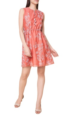 Hand woven embroidered short dress