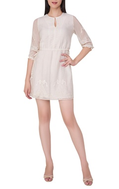 Hand embroidered short dress with waist drawstring
