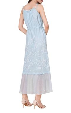 Hand embroidered chikankari midi dress
