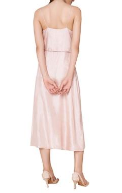 Embroidered & block printed wrap midi dress