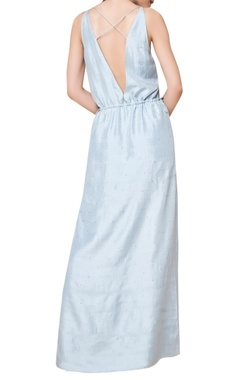 Embroidered yoke & block printed maxi dress