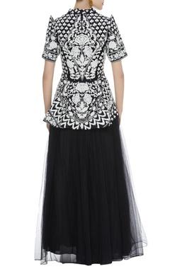 Peplum top with tulle lehenga skirt