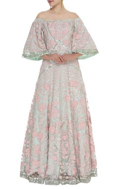 Embroidered flared sleeves gown