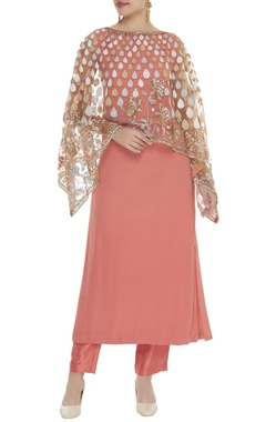Embroidered cape with kurta & pants
