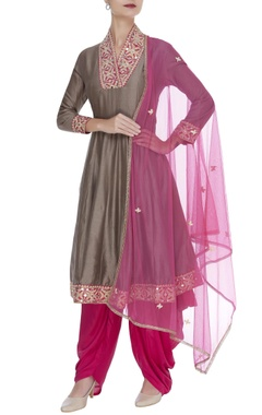 Full sleeves anarkali with patiala salwar & dupatta