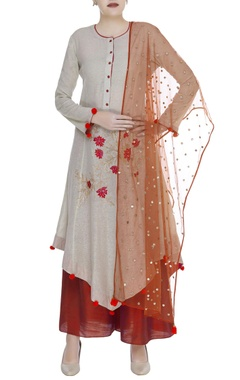 Floral embroidered kurta with palazzo & dupatta