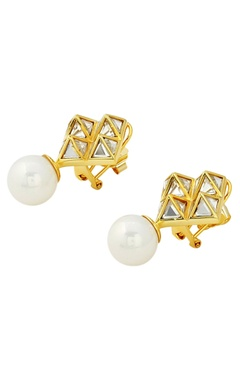 Pearl and mirror pyramid earrings