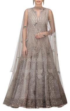 TARUN TAHILIANI Micro-velvet aari hand embroidered gown with dupatta