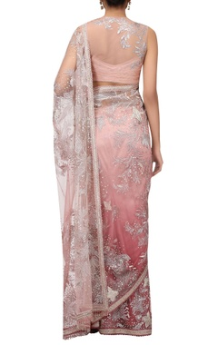 Hand embroidered sheer tulle sari with blouse