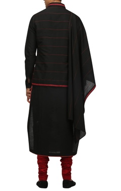 Katan silk draped kurta with churidar