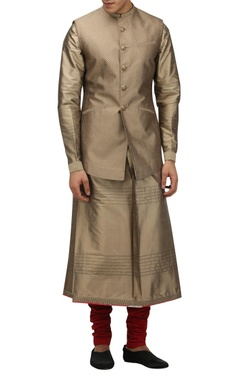 Tarun Tahiliani - Men Metallic dupion silk nehru jacket