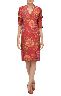 TARUN TAHILIANI Hand painted floral double breasted dress