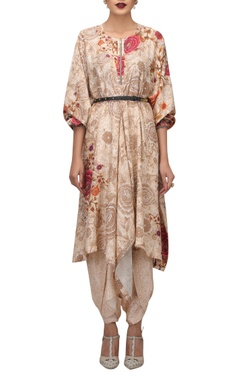 TARUN TAHILIANI Charmeuse silk hand painted kaftan tunic