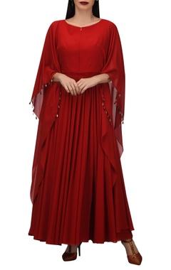 TARUN TAHILIANI Fiery red kaftan style dress