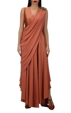 TARUN TAHILIANI Dupion silk & crepe draped style jumpsuit