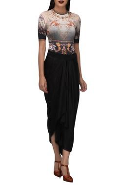 TARUN TAHILIANI Phoenix bird & oriental floral bodysuit