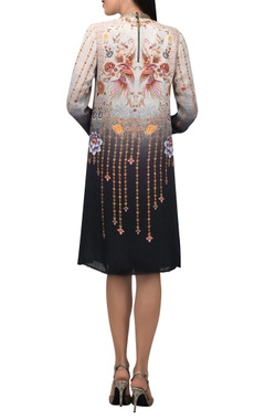 Hand painted oriental floral a-line dress